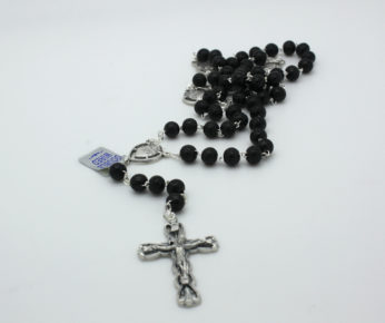 Black Carved Wood Rosary