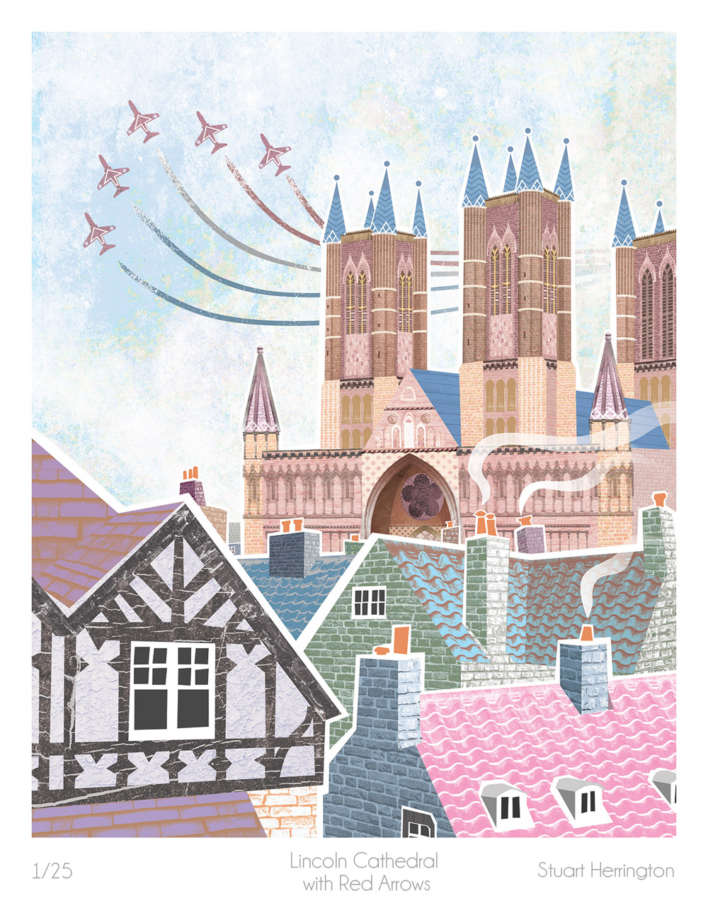 Lincoln Cathedral with Red Arrows by Stuart Herrington